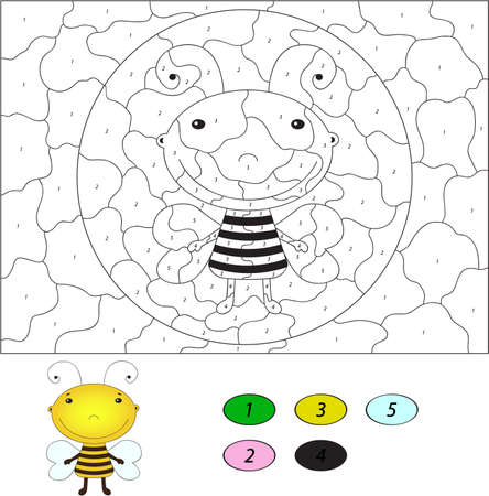 Color by number educational game for kids. Funny cartoon bee. Vector illustration for schoolchild and preschool