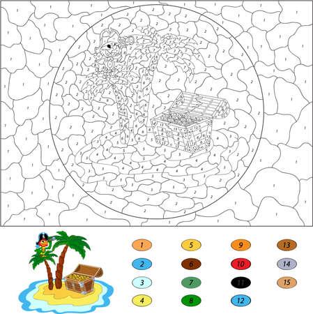 papagayo: Color por el n�mero de juegos educativos para los ni�os. Divertido loro pirata de dibujos animados en la palma de la mano. Isla y el cofre del tesoro. Ilustraci�n del vector para los escolares y preescolares