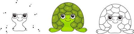 tardy: Funny green turtle. Vector illustration for kids. Dot to dot game and coloring book Illustration