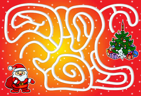 Help Santa Claus pass through a maze and find a Christmas tree. Educational game for children. Vector illustration