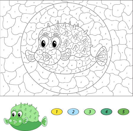 number cartoon: Color by number educational game for kids. Funny cartoon pufferfish. Vector illustration for schoolchild and preschool Illustration