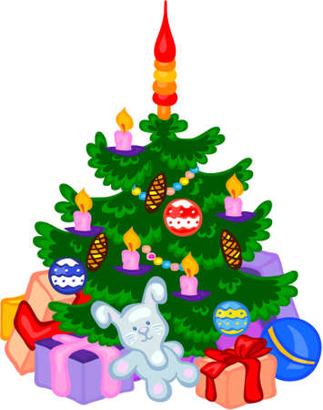 cristmas: Cristmas tree with cones, balls, garlands and gifts. Vector illustration