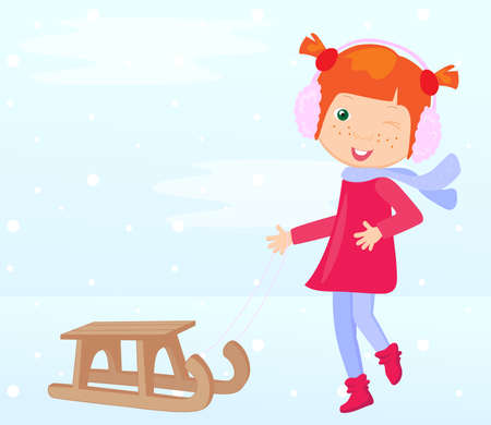 sledging: Girl in winter clothes with a sled. Vector illustration Illustration