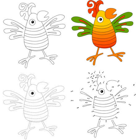 cartoon parrot: Cartoon parrot. Dot to dot educational game for kids. Vector illustration