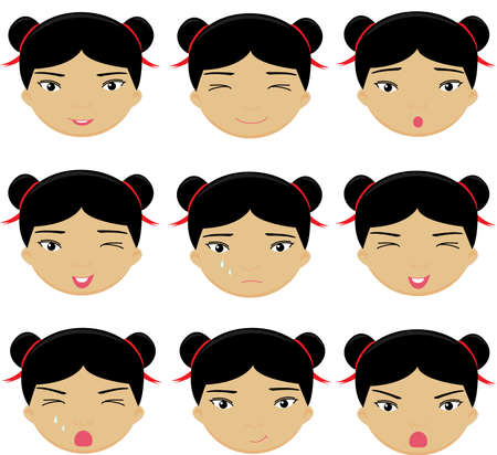 cunning: Chinese girl emotions: joy, surprise, fear, sadness, sorrow, crying, laughing, cunning wink. Vector cartoon illustration Illustration