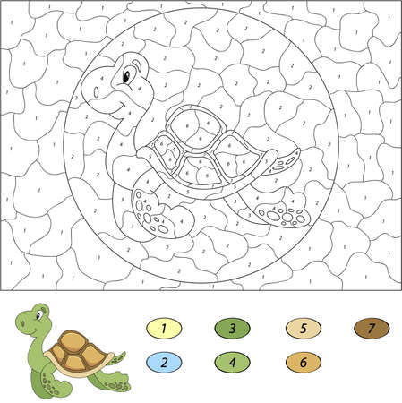 Color by number educational game for kids. Funny cartoon turtle. Vector illustration for schoolchild and preschool  イラスト・ベクター素材