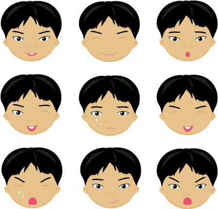 cunning: Chinese boy emotions: joy, surprise, fear, sadness, sorrow, crying, laughing, cunning wink. Vector cartoon illustration Illustration