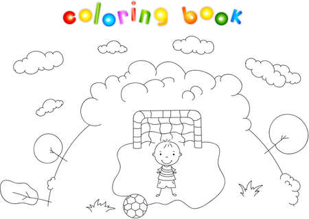 goalkeeper: Goalkeeper boy standing at the gate with ball. Vector illustration