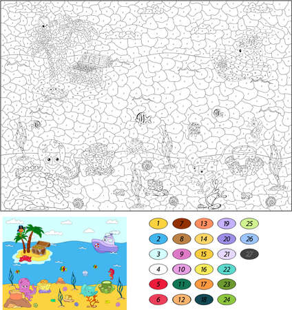 number cartoon: Color by number educational game for kids. Funny cartoon pirate parrot on the palm. Island and treasure chest. Underwater world. Vector illustration for schoolchild and preschool