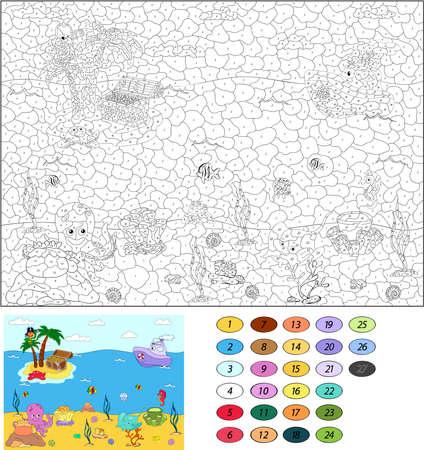 papagayo: Color por el n�mero de juego educativo para los ni�os. Divertido loro pirata de la historieta en la palma. Island y el cofre del tesoro. Mundo submarino. Ilustraci�n del vector para escolar y preescolar