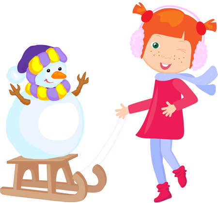 sledging: Girl in winter clothes. Snowman stands on a sled. Vector illustration
