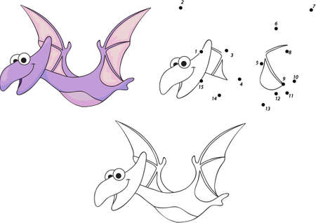 Funny cute pterodactyl. Educational game for kids. Connect digits dot to dot and ge image. Vector illustration