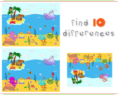 Underwater world, ocean floor with octopus, submarine, whale, fish, corals and sea shells. Steamship sails on the sea. Educational game for kids: find ten differences. Vector illustration