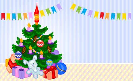 hristmas: Сhristmas tree in a room. Vector cartoon illustration