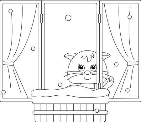 tomcat: Сat sitting on the window and watching to the snow. Coloring book. Vector illustration