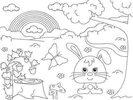 Forest glade with a hare, stub, strawberries, butterfly, trees, rainbow and flowers. Coloring book. Vector illustration Illustration