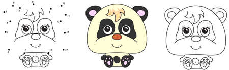 Funny and cute panda. Vector illustration for kids. Dot to dot game and coloring book