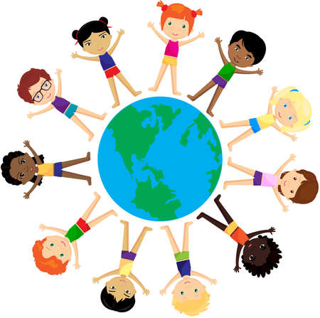multiracial: Boys and girls Europeans, Africans, Chinese, Japanese, Russian, Americans and other around the globe. Vector illustration
