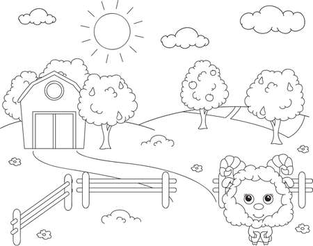 corral: Rural landscape with barn, corral, fields and fruit trees and sheep. Coloring book. Vector illustration