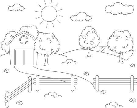 Landelijk landschap met schuur, drijf bijeen, velden en fruitbomen. Kleurboek. vector illustratie