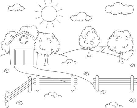 Rural landscape with barn, corral, fields and fruit trees. Coloring book. Vector illustration