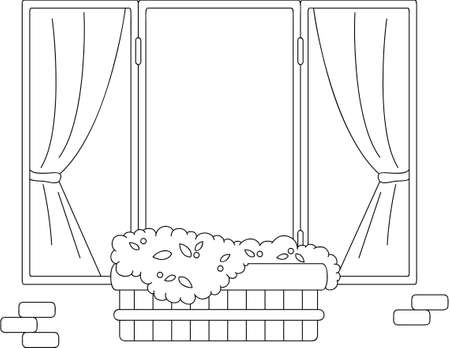 flower pots: Window with flower pots and curtains. Coloring book. Vector illustration