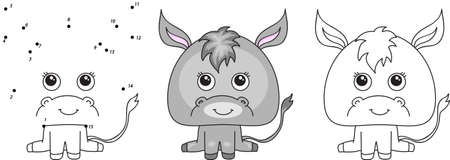 Funny and cute donkey. Vector illustration for kids. Dot to dot game and coloring book