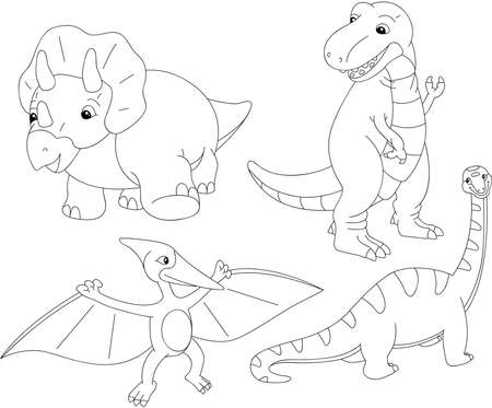 diplodocus: Set of diplodocus, tyrannosaur, pterodactyl and triceratops. Coloring book for kids. Vector illustration