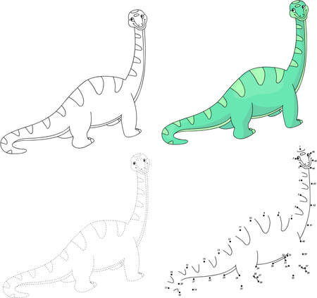 dots: Cartoon diplodocus. Dot to dot educational game for kids. Vector illustration