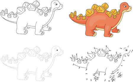 Cartoon stegosaurus. Dot to dot educational game for kids. Vector illustration Çizim