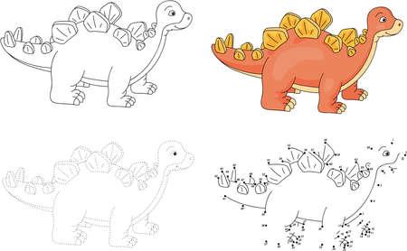 Cartoon stegosaurus. Dot to dot educational game for kids. Vector illustration Illustration