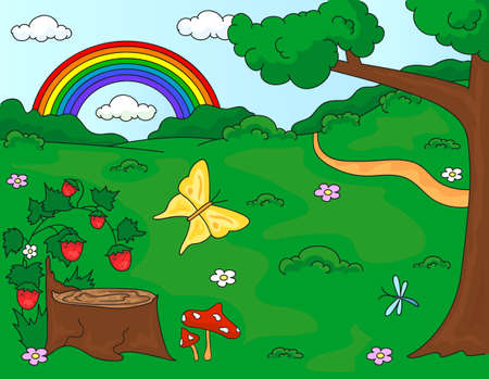 stub: Forest glade with a stub, strawberries, butterfly, trees, rainbow and flowers. Vector illustration Illustration