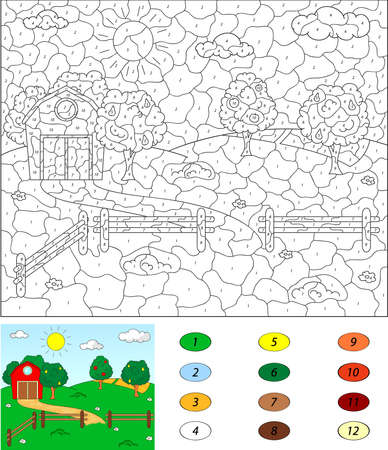 corral: Color by number educational game for kids. Rural landscape with barn, corrals, fruit-trees and fields. Vector illustration for schoolchild and preschool