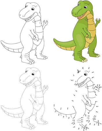 Cartoon tyrannosaur. Dot to dot educational game for kids. Vector illustration