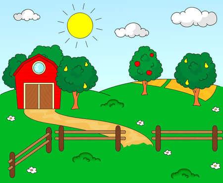 arboles frutales: Paisaje rural con granero, corral, campos y árboles frutales. Ilustración vectorial