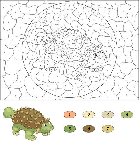 ankylosaurus: Color by number educational game for kids. Cartoon ankylosaurus. Vector illustration for schoolchild and preschool