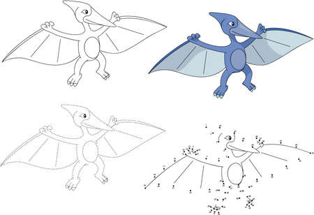 Cartoon pterodactyl. Dot to dot educational game for kids. Vector illustration