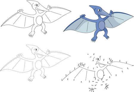 pterodactyl cartoon. Dot educatief spel stippelen voor kinderen. vector illustratie Stock Illustratie