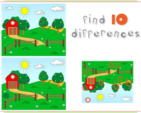 Rural landscape with barn, corrals, fruit-trees and fields. Steamship sails on the sea. Educational game for kids: find ten differences. Vector illustration