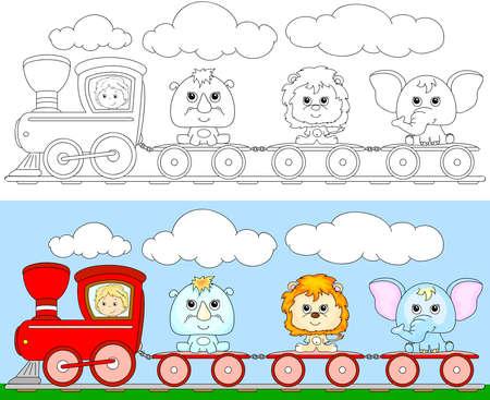 tren caricatura: Tren de la historieta divertida con el león, elefante y rinoceronte. Libro para colorear para los niños. Ilustración vectorial