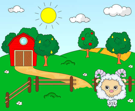corral: Rural landscape with barn, corral, fields and fruit trees and sheep. Vector illustration Illustration