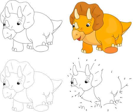 Triceratops cartoon. Dot educatief spel stippelen voor kinderen. vector illustratie