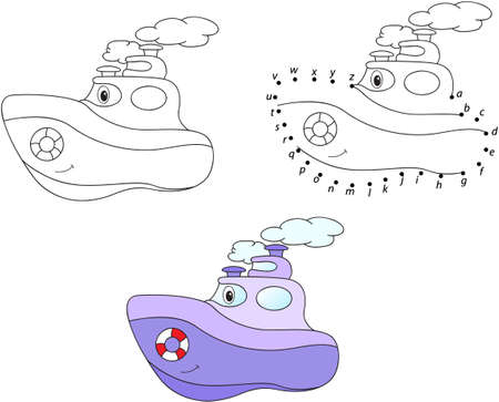 steamship: Cartoon steamship. Vector illustration. Coloring and dot to dot educational game for kids