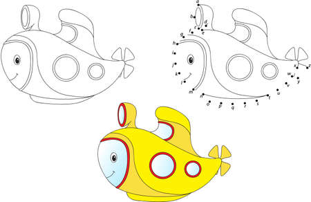Cartoon submarine. Vector illustration. Coloring and dot to dot educational game for kids Illustration