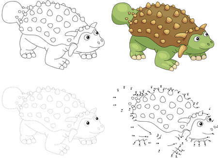Cartoon ankylosaurus. Dot to dot educational game for kids. Vector illustration