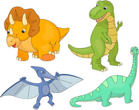 diplodocus: Set of diplodocus, tyrannosaur, pterodactyl and triceratops. Vector illustration Illustration