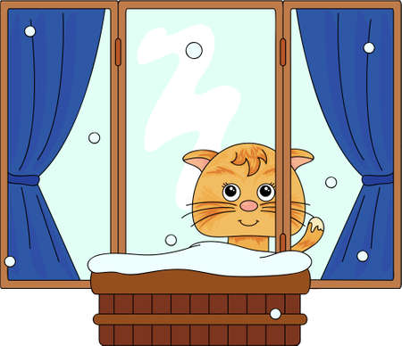 frost winter: Cat sitting on the window and watching to the snow. Vector illustration