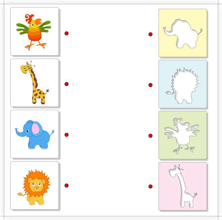 raptorial: Giraffe, elephant, parrot and lion. Educational game for kids. Choose the correct silhouettes on the opposite side and connect the points