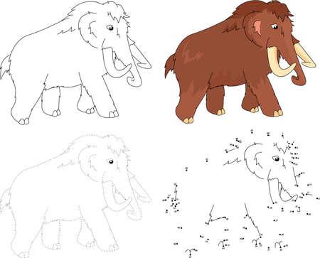 activity cartoon: Cartoon mammoth. Dot to dot educational game for kids. Vector illustration