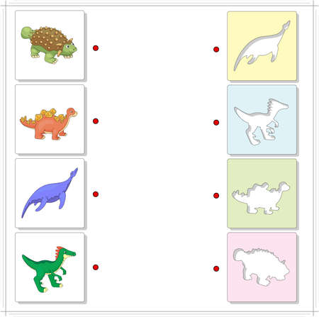 ankylosaurus: Set of pliosaur, stegosaurus, ankylosaurus and guanlong. Educational game for kids. Choose the correct silhouettes on the opposite side and connect the points